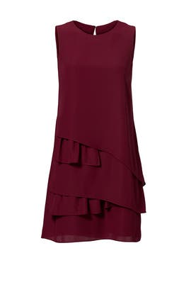 Wine Ruffle Hem Shift by Amanda Uprichard