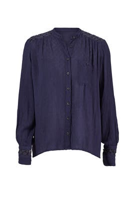 Navy Lace Back Button Down by Free People