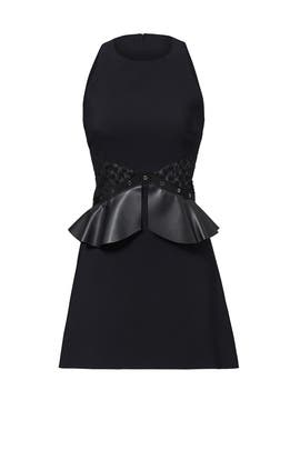 Black Leather Peplum Dress by Giamba