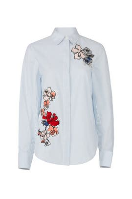 Embroidered Floral Button Down by Jason Wu Grey