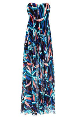 Wind Ribbon Strapless Maxi by MSGM