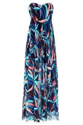 Wind Ribbon Strapless Maxi by MSGM