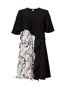 Black Printed Plisse Dress by ADEAM