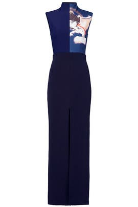 Navy Print Panel Gown by Solace London