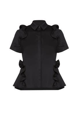 Black Merrill Ruffle Top  by Alexis