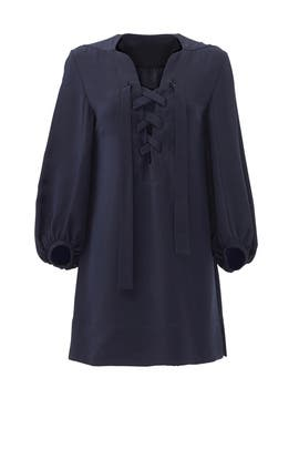 Navy Lace Up Dress by DEREK LAM