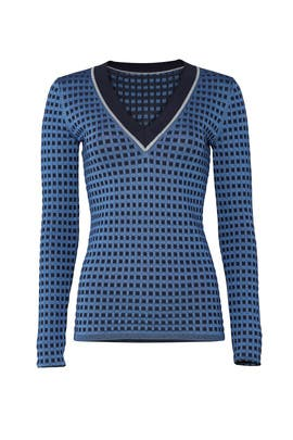 Blue Printed Sweater by Diane von Furstenberg