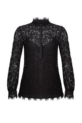 Black Georgia Lace Top by Rachel Zoe