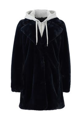Dark Blue Faux Fur Coat by KENDALL + KYLIE