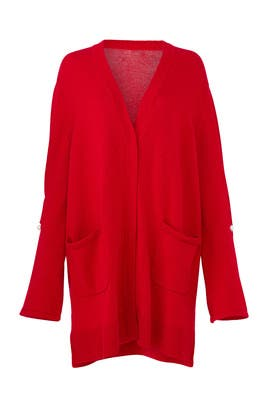 Red Maudi Cardigan by Mother of Pearl