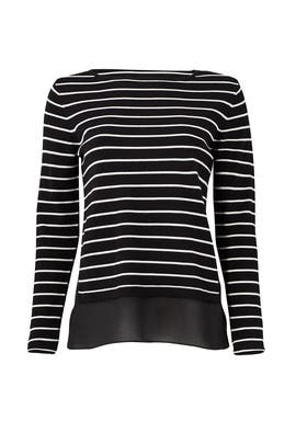 Striped Crew Sweater by Nicole Miller