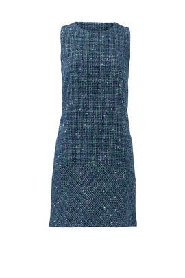 Blue Tweed Mott Shift Dress by Of Mercer