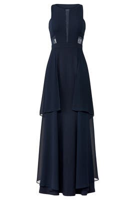 Navy Flutter Gown by LM Collection