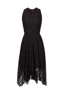 Black Lace Handkerchief Hem Dress by Rebecca Minkoff
