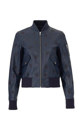 Heart Leather Bomber Jacket by Samantha Sipos