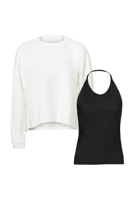 Black Tank & White Fleece Crew by Nike