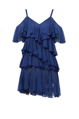 Blue Chiffon Drop Ruffle Dress by Philosophy di Lorenzo Serafini