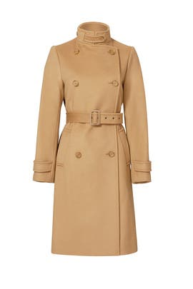 Wool Camel Trench Coat by VINCE.
