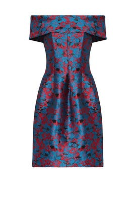 Blue Floral Jacquard Dress by Slate & Willow