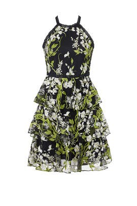 Black Floral Tiered Dress by Marchesa Notte