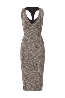Grey Melange Wrap Dress by ST by Olcay Gulsen