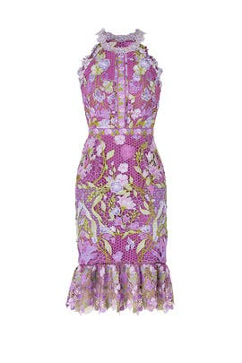 Purple Lace Flounce Sheath by Marchesa Notte