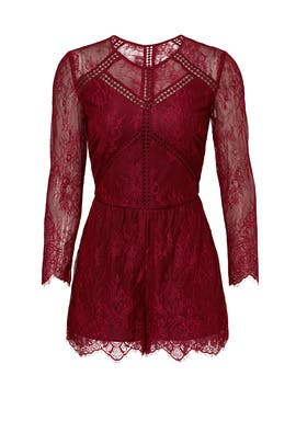 Bordeaux Fine Lace Romper by Greylin