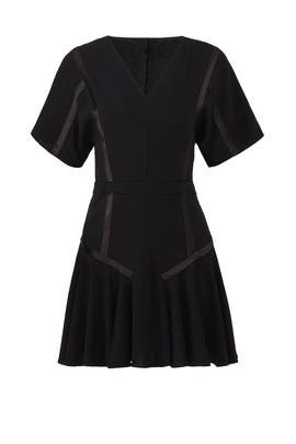 Black Flounce Hem Dress by Halston Heritage