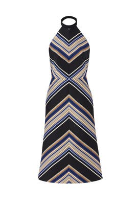 Striped Halter Midi Dress by Martin Grant