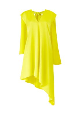 Yellow Asymmetric Hem Dress by MSGM