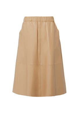 Camel Leather Midi Skirt by Bagatelle