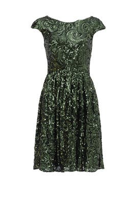 Green Golden Flower Dress by Badgley Mischka
