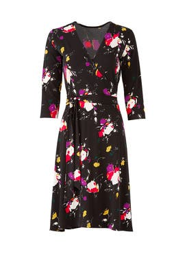 Dark Floral Wrap Dress by Leota