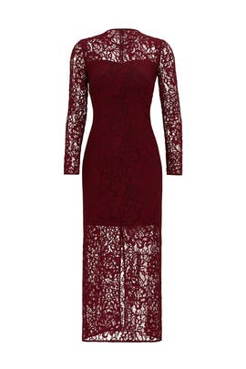 Merlot Red Lace Sheath by Cynthia Rowley
