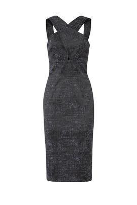 Grey Cross Neck Dress by Hunter Bell