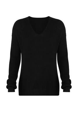 Black Ribbed V Sweater by Michael Stars
