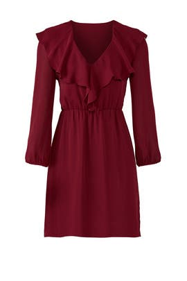 Ruffled Bordeaux Dress by Amanda Uprichard