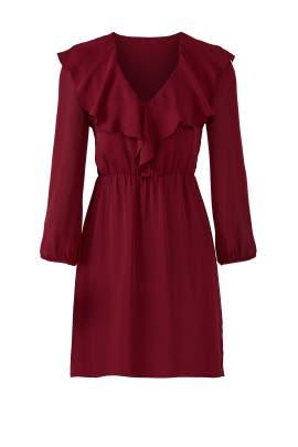 Ruffled Bordeax Dress by Amanda Uprichard