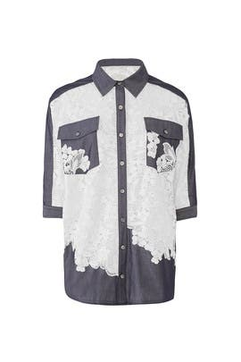 Lace Chambray Button Down by Badgley Mischka