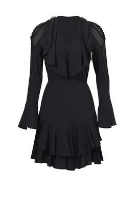 Black Plume Ruffle Dress by Yigal Azrouël