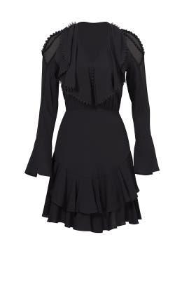 Black Plume Ruffle Dress by Yigal Azrouël