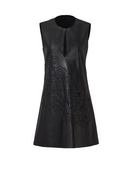 Black Faux Leather Lasercut Dress by Josie Natori