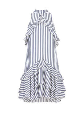 Sailor Stripe Ruffle Dress by Nicole Miller
