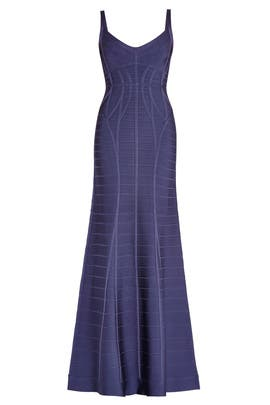 Navy Kora Signature Essentials Gown by Hervé Léger