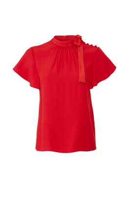 Red Tie Neck Top by RED Valentino