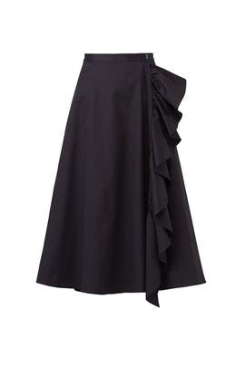 Sateen Ruffle Skirt by Tome