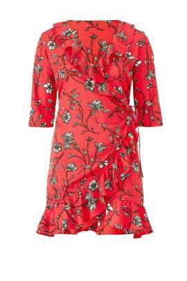 Red Floral Wrap Dress by JUNAROSE