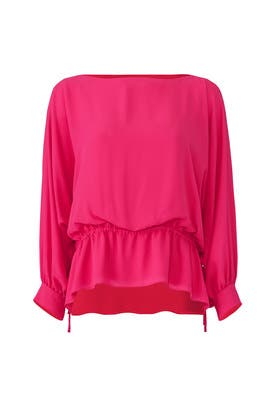 Fuchsia Poet Sleeve Top by Josie Natori