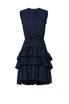 Navy Poplin Ruffle Dress by Martin Grant