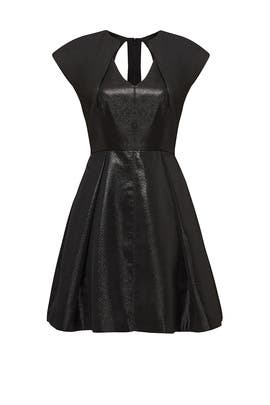 Black Metallic Adrian Dress by Halston Heritage